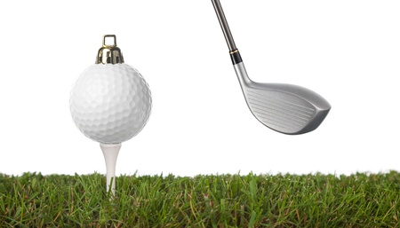 christmas golf: christmas golf-ball isolated on a white background .with plenty of copy-space