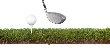 cross section of grass with golf ball on tee photo