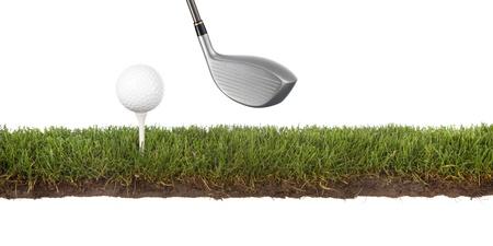 doorsnede van gras met golfbal op T-stuk Stockfoto