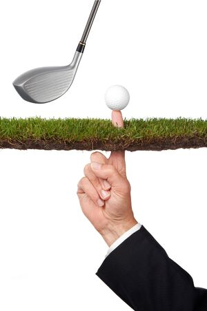 metaphor: conceptual business image of taking a risk or many other concepts Stock Photo
