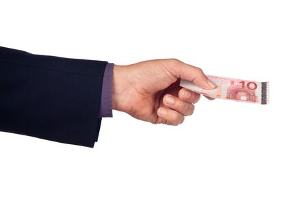 male hand with ten euro  banknote on a white background Stock Photo - 10886880