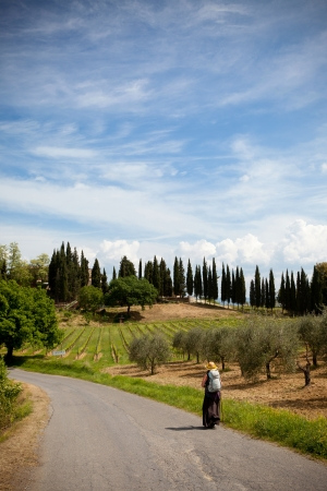 pilgrim on her way in tuscany italy Stock Photo - 17243183