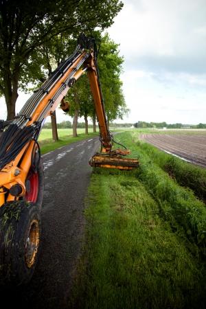 grass verge: mowing grass along roadside