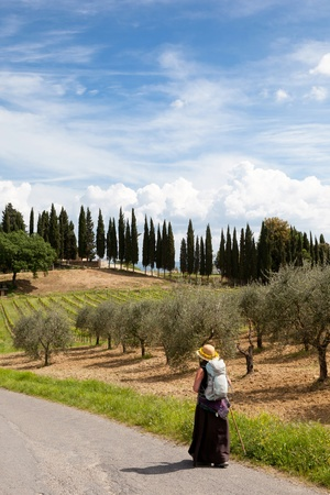 pilgrim on her way in tuscany italy Stock Photo - 17243182