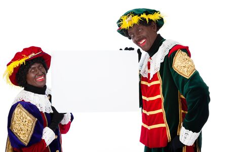 advertize: Zwarte piet   black pete  typical Dutch character part of a traditional event celebrating the birthday of Sinterklaas in december over white background