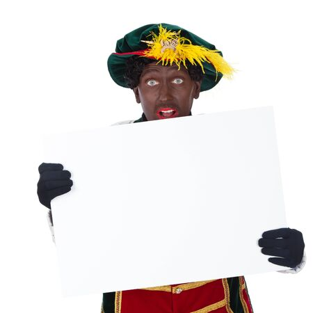 Zwarte piet   black pete  typical Dutch character part of a traditional event celebrating the birthday of Sinterklaas in december over white background Stock Photo - 18208853