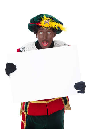 Zwarte piet   black pete  typical Dutch character part of a traditional event celebrating the birthday of Sinterklaas in december over white background   Stock Photo - 18208855