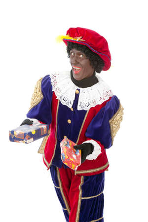 Zwarte piet   black pete  typical Dutch character part of a traditional event celebrating the birthday of Sinterklaas in december over white background   Stock Photo - 18208859