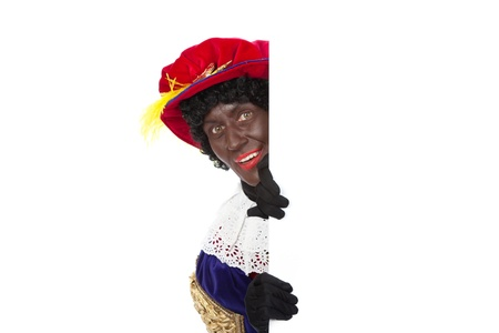 Zwarte piet   black pete  typical Dutch character part of a traditional event celebrating the birthday of Sinterklaas in december over white background Stock Photo - 18208852