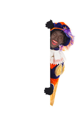 piet: zwarte piet   black pete   typical Dutch character part of a traditional event celebrating the birthday of Sinterklaas in december