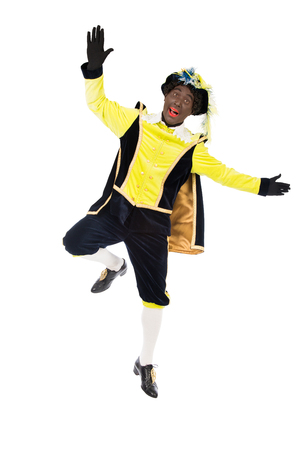 'black pete': jumping zwarte piet   black pete, typical Dutch character part of a traditional event celebrating the birthday of Sinterklaas in december Stock Photo
