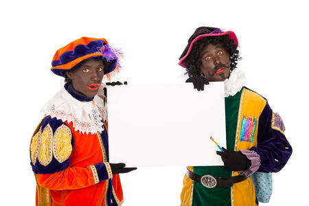 nicolaas: zwarte piet black pete typical Dutch character part of a traditional event celebrating the birthday of Sinterklaas in december