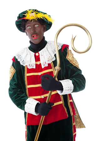 piet: zwarte piet   typical Dutch character part of a traditional event celebrating the birthday of Sinterklaas in december
