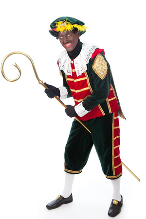 zwarte piet   typical Dutch character part of a traditional event celebrating the birthday of Sinterklaas in december