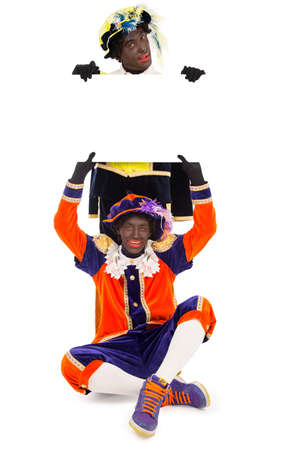 advertize:   typical Dutch character part of a traditional event celebrating the birthday of Sinterklaas in december Stock Photo
