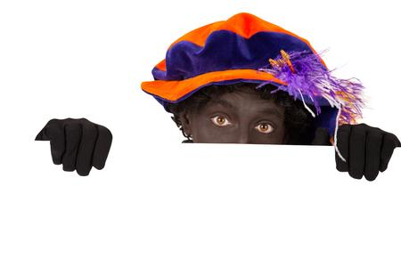 zwarte piet (zwarte pete) typisch Nederlandse karakter deel van een traditionele gebeurtenis vieren de verjaardag van Sinterklaas in december Stockfoto