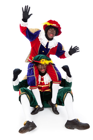 Zwarte Pieten typisch Nederlandse karakter deel van een traditionele gebeurtenis vieren de verjaardag van Sinterklaas in december