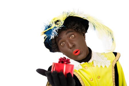 zwarte: zwarte piet clipping path included   typical Dutch character part of a traditional event celebrating the birthday of Sinterklaas in december