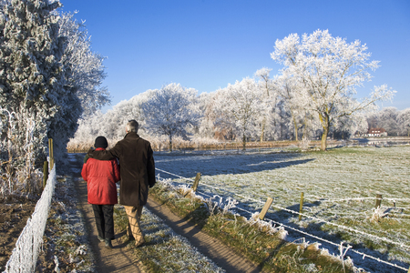 senior couple strolling in a winter landscape photo
