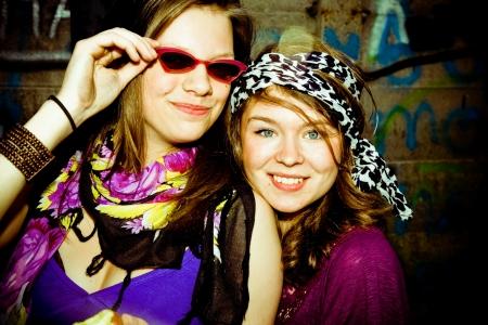 toning: two girls having fun , personal editing ,green toning
