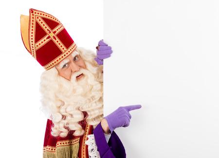Sinterklaas met plakkaat geïsoleerde Stockfoto
