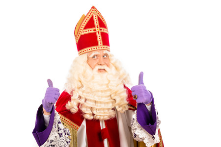 nicolaas: Sinterklaas portrait.Showing okay. isolated on white background. Dutch character of Santa Claus