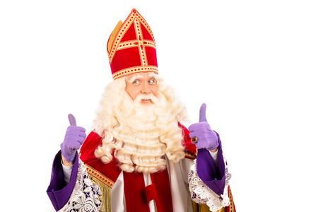 sinterklaas: Sinterklaas portrait.Showing okay. isoliert auf wei�em Hintergrund. Niederl�ndischen Charakter von Santa Claus