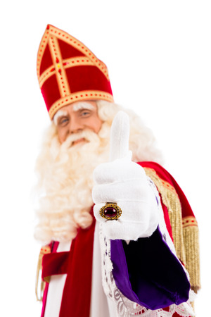 nicolaas: Sinterklaas portrait.Thumbs up. Isolated on white background. Dutch character of Santa Claus Stock Photo