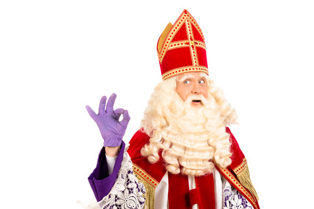 Sinterklaas portrait Showing okay  isolated on white background  Dutch character of Santa Claus photo