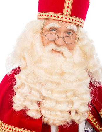 pieten: Sinterklaas with glasses   isolated on white background  Dutch character of Santa Claus