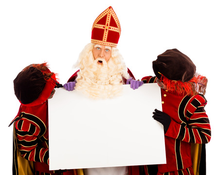 black pete: Sinterklaas and black pete  with placard  isolated on white background  Dutch character of Santa Claus