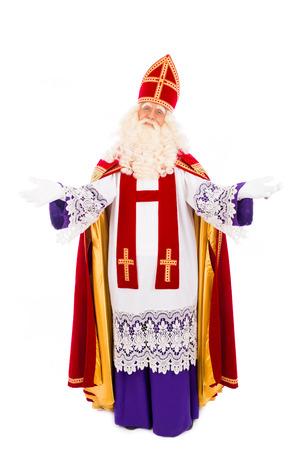 Sinterklaas portret armen wijd op een witte achtergrond Nederlandse karakter van de kerstman
