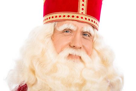st nicholas: Sinterklaas portrait. isolated on white background. Dutch character of Santa Claus Stock Photo
