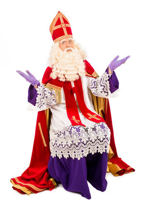 black pete: Sinterklaas portrait. isolated on white background. Dutch character of Santa Claus Stock Photo