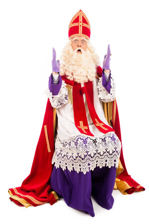 nicolaas: Sinterklaas full length portrait. isolated on white background. Dutch character of Santa Claus