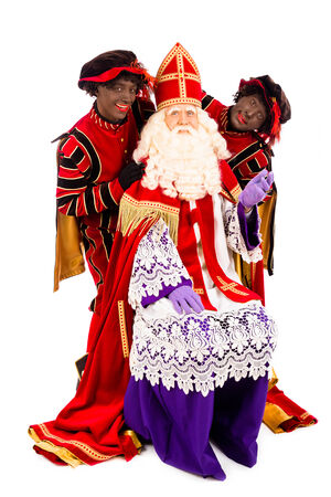 Sinterklaas and zwarte pieten. isolated on white background. Dutch character of Santa Claus