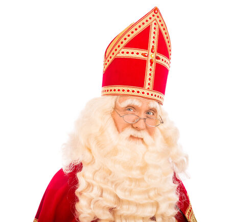 Sinterklaas portret. geïsoleerd op een witte achtergrond. Nederlandse karakter van de Kerstman Stockfoto