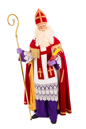 Sinterklaas portrait. isolated on white background. Dutch character of Santa Claus 스톡 콘텐츠