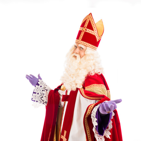 saint nicolaas: Sinterklaas portrait. isolated on white background. Dutch character of Santa Claus Stock Photo