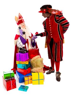 zwarte: Sinterklaas and zwarte piet with telephone. isolated on white background. Dutch character of Santa Claus