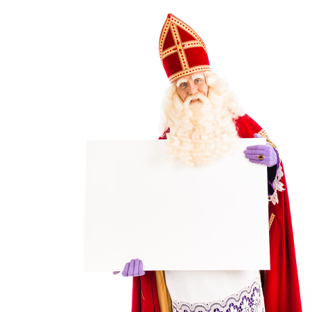 pieten: Sinterklaas with empty card. isolated on white background. Dutch character of Santa Claus