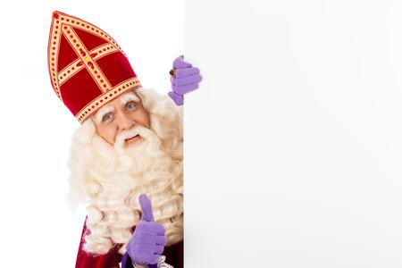 Sinterklaas met whiteboard. geïsoleerd op een witte achtergrond. Nederlandse karakter van de Kerstman