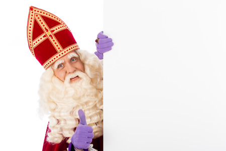 pieten: Sinterklaas with whiteboard. isolated on white background. Dutch character of Santa Claus
