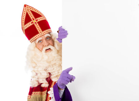 pieten: Sinterklaas with placard. isolated on white background. Dutch character of Santa Claus