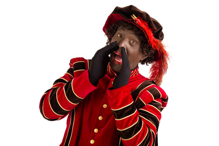 'black pete': zwarte piet ( black pete) shouting . typical Dutch character part of a traditional event celebrating the birthday of Sinterklaas (Santa Claus) in december