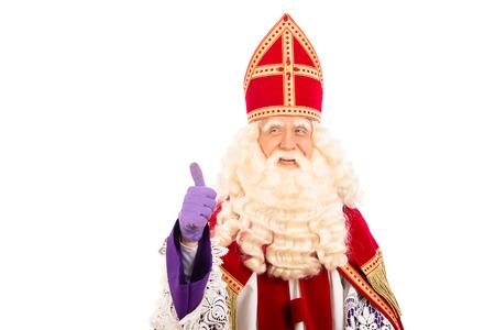 Sinterklaas portrait.Showing okay. geïsoleerd op een witte achtergrond. Nederlandse karakter van de Kerstman Stockfoto - 31287693
