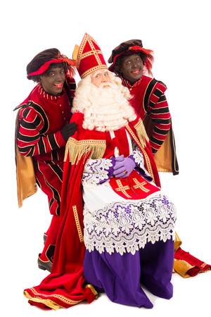sint nicolaas: Sinterklaas and black pete. isolated on white background. Dutch character of Santa Claus Stock Photo