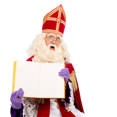 nicolaas: Sinterklaas with book. isolated on white background. Dutch character of Santa Claus