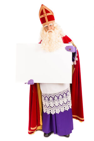 saint nicolaas: Sinterklaas with placard. isolated on white background. Dutch character of Santa Claus