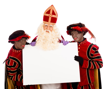 piet: Sinterklaas and black pete  with placard. isolated on white background. Dutch character of Santa Claus Stock Photo